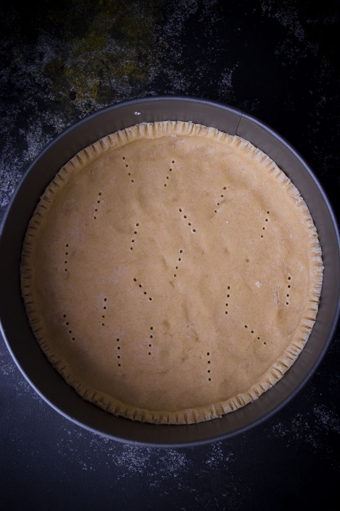 springform pan with pie crust