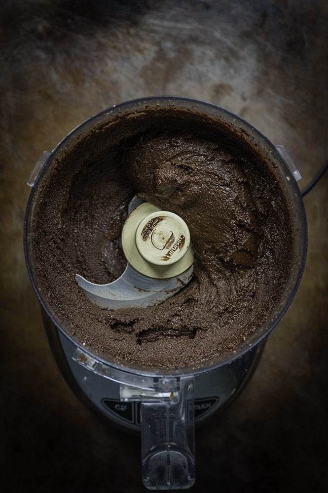 homemade nutella in a food processor