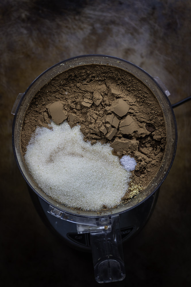 cacao powder, sugar, salt and ground hazelnuts in a food processor