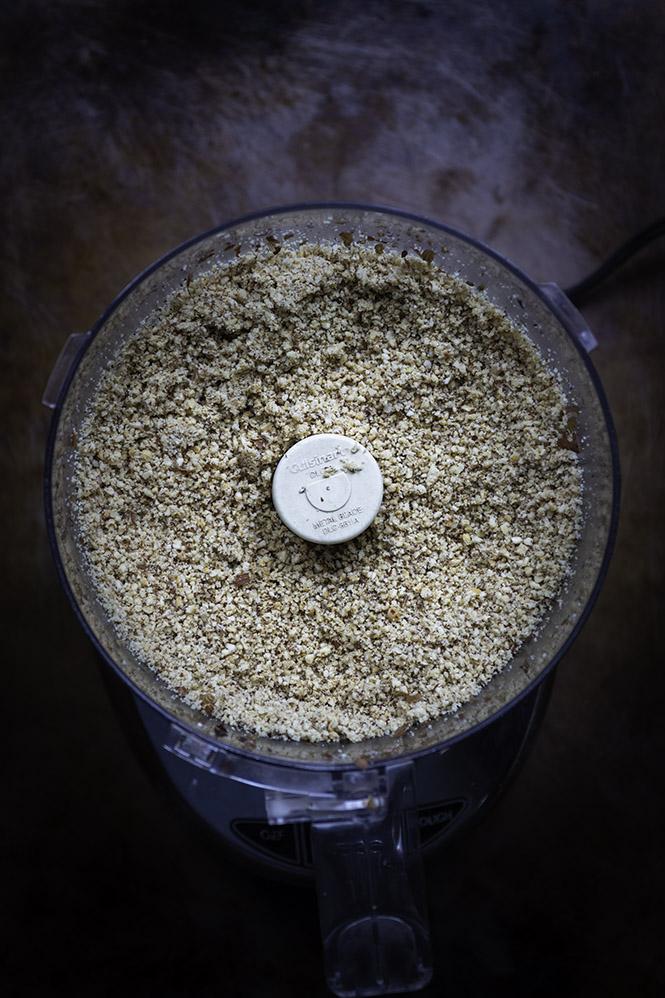 Ground hazelnuts in a food processor