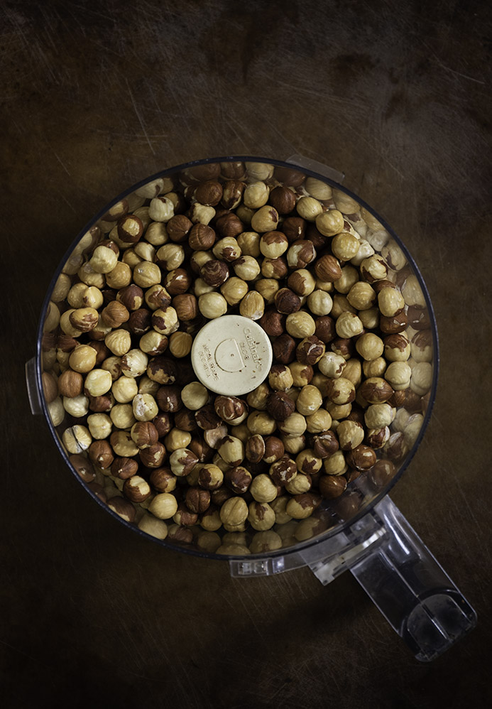hazelnuts in a food processor
