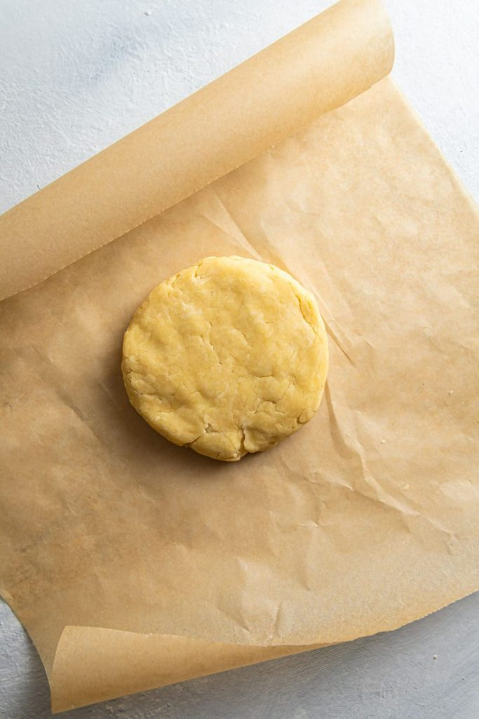 Dough on parchment paper.