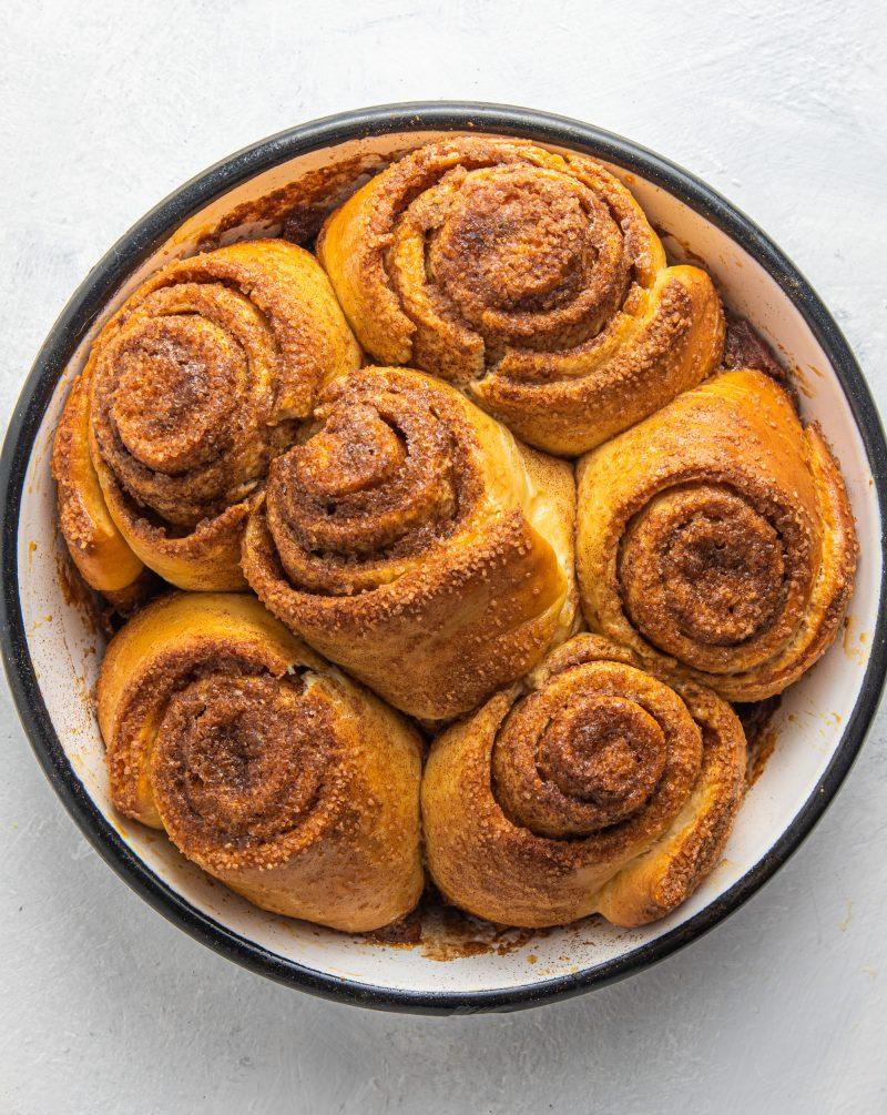 Baking dish with cinnamon rolls.
